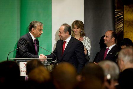 Orbán Viktor és Zaid Naffa, Jordánia magyarországi tiszteletbeli konzulja a Buddha-Bar Hotel Klotild Palace megnyitó ünnepségén 2012-ben. (MTI Fotó: Kollányi Péter)
