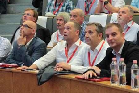 Az MSZP elnökjelöltjei: Tóbiás József, Szanyi Tibor, Molnár Gyula és Harangozó Tamás (Fotó: mszp.hu)