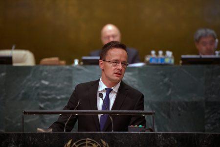 New York, 2016. szeptember 23. A Külgazdasági és Külügyminisztérium (KKM) által közreadott képen Szijjártó Péter külgazdasági és külügyminiszter felszólal az ENSZ Közgyûlésének általános vitáján New Yorkban 2016. szeptember 23-án. MTI Fotó: KKM