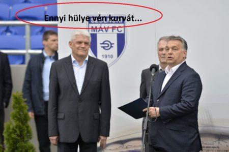 A tisztességben megőszült Szalay Ferenc és Orbán a Tiszaligeti Stadion megnyitóján Szolnokon 2016. április 9-én (Eredeti fotó:  MTI/Máthé Zoltán)