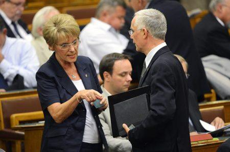 Hoffmann Rózsi akkor még köznevelési államtitkár és Balog Zoli azóta is emberszerű erőforrás és miniszter az Országgyűlés kétnapos rendkívüli ülésén 2013. augusztus 26-án, amelyen a pedagógus-béremelés kiterjesztéséről szóló előterjesztést vitatják meg (MTI Fotó: Kovács Tamás)