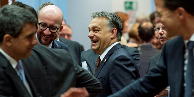 Orbán Viktor talking with Charles Michel Belgian and Matteo Renzi Italian Prime Ministers on the second day of the European Union's two-day summit in Brussels in October 2014. (Photo: Prime Minister's press office/Barna Burger )