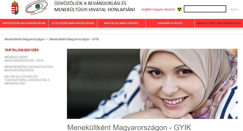 A Bevándorlási és Menekültügyi Hivatal honlapja