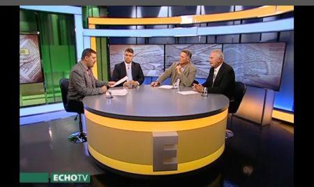 Huth Gergely, Szentesi Zöldi László, Lovas István és Bencsik András az Echo Tv Sajtóklub című műsorában 2017. október 16-án