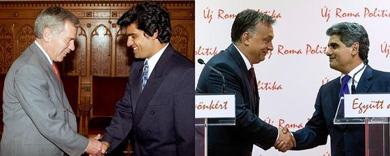 Farkas Flórián Horn Gyulával 1997-ben és Orbán Viktorral 2014-ben. (Fotók: MTI / Kovács Attila, MTI / Koszticsák Szilárd via hvg.hu)